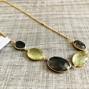 5 Stone Necklace. Light green & Brown
